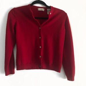 Lord & Taylor Italian Merino Wool Red Cardigan